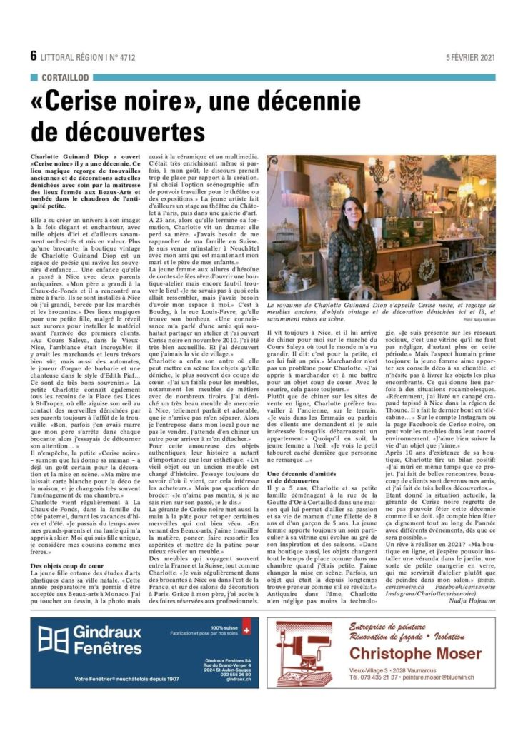 Publication journal Littoral Région - Cerise Noire